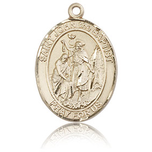 14kt Yellow Gold 3/4in St John the Baptist Medal