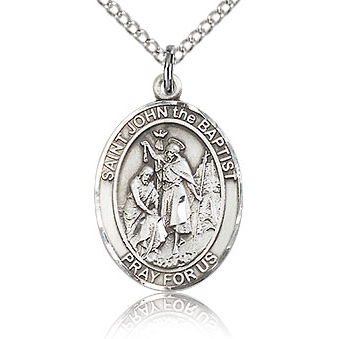 Sterling Silver 3/4in St John the Baptist Medal & 18in Chain