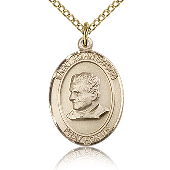 Gold Filled 3/4in St John Bosco Medal & 18in Chain