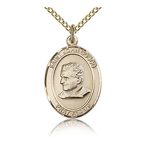 Gold Filled 3/4in St John Bosco Medal & 18in Chain