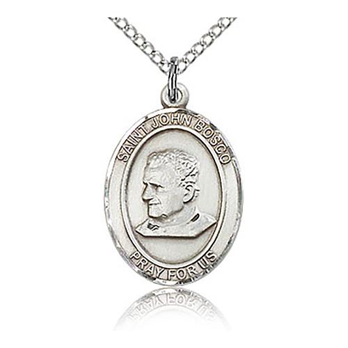 Sterling Silver 3/4in St John Bosco Medal & 18in Chain