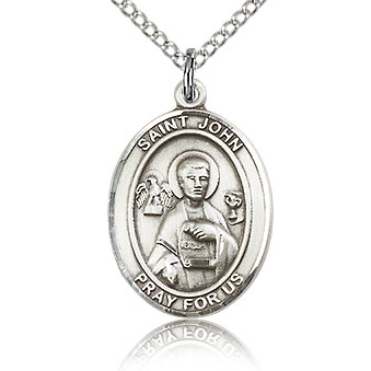 Sterling Silver 3/4in St John the Apostle Medal & 18in Chain