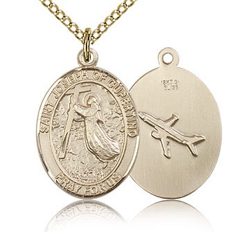 Gold Filled 3/4in St Joseph of Cupertino Medal & 18in Chain