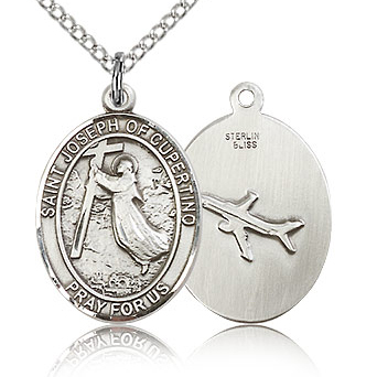 Sterling Silver 3/4in St Joseph of Cupertino Medal & 18in Chain