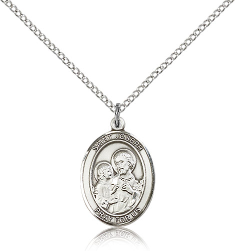 Sterling Silver 3/4in St Joseph Medal & 18in Chain