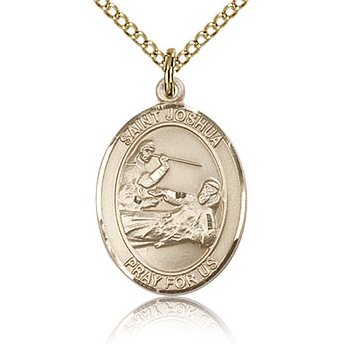 Gold Filled 3/4in St Joshua Medal & 18in Chain