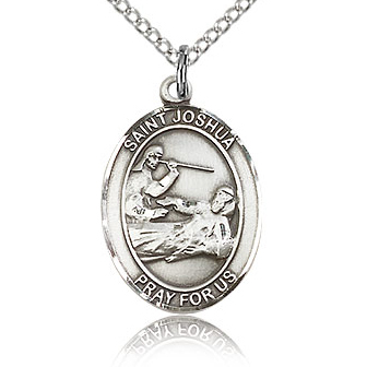 Sterling Silver 3/4in St Joshua Medal & 18in Chain
