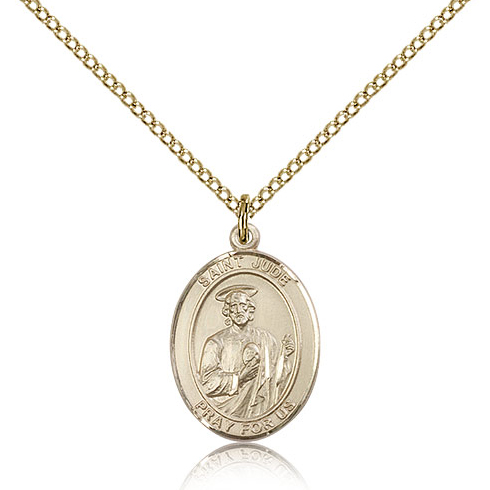 Gold Filled 3/4in Oval St Jude Medal & 18in Chain