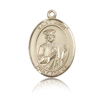 14kt Yellow Gold 3/4in St Jude Medal