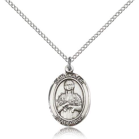 Sterling Silver 3/4in St Kateri Medal & 18in Chain