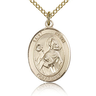 Gold Filled 3/4in St Kevin Medal & 18in Chain