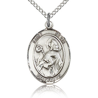 Sterling Silver 3/4in St Kevin Medal & 18in Chain