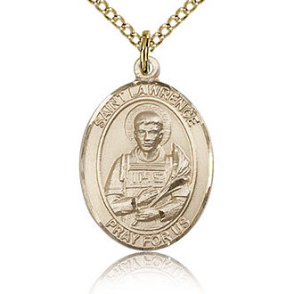 Gold Filled 3/4in St Lawrence Medal & 18in Chain