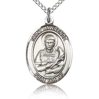 Sterling Silver 3/4in St Lawrence Medal & 18in Chain