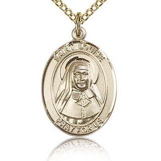 Gold Filled 3/4in St Louise de Marillac Medal & 18in Chain