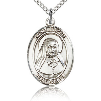 Sterling Silver 3/4in St Louise de Marillac Medal & 18in Chain