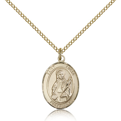 Gold Filled 3/4in St Lucia Medal & 18in Chain