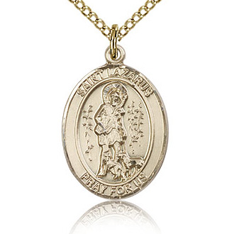 Gold Filled 3/4in St Lazarus Medal & 18in Chain
