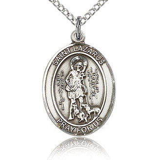 Sterling Silver 3/4in St Lazarus Medal & 18in Chain