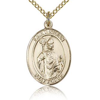 Gold Filled 3/4in St Kilian Medal & 18in Chain