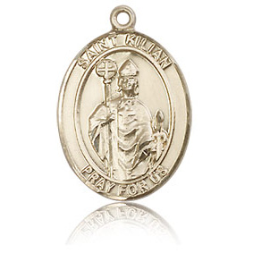 14kt Yellow Gold 3/4in St Kilian Medal