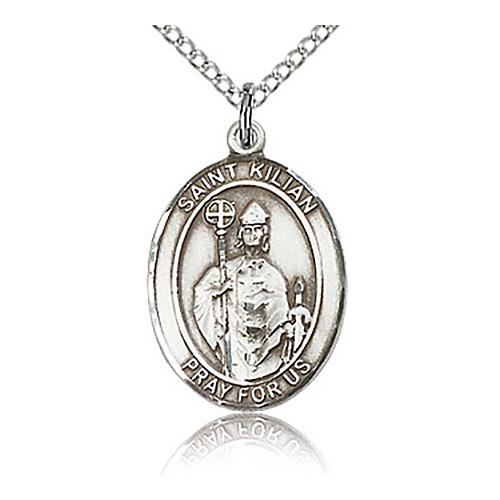 Sterling Silver 3/4in St Kilian Medal & 18in Chain