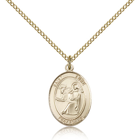 Gold Filled 3/4in St Luke Medal & 18in Chain