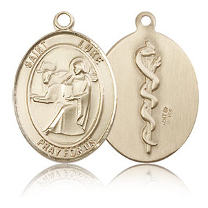 14kt Yellow Gold 3/4in St Luke the Apostle & Doctor Medal