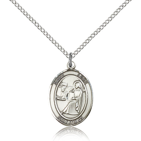 Sterling Silver 3/4in St Luke Medal & 18in Chain