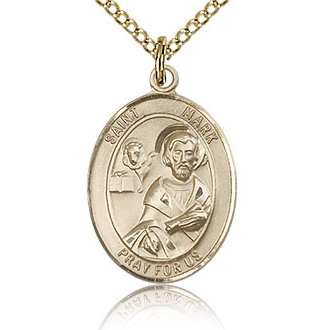 Gold Filled 3/4in St Mark Medal & 18in Chain