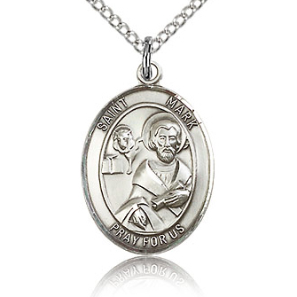 Sterling Silver 3/4in St Mark Medal & 18in Chain