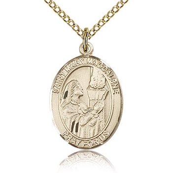 Gold Filled 3/4in St Mary Magdalene Medal & 18in Chain