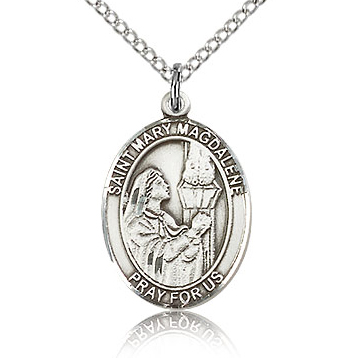 Sterling Silver 3/4in St Mary Magdalene Medal & 18in Chain