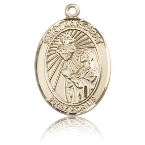 14kt Yellow Gold 3/4in St Margaret Mary Alacoque Medal