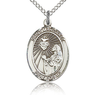 Sterling Silver 3/4in St Margaret Mary Alacoque Medal & 18in Chain