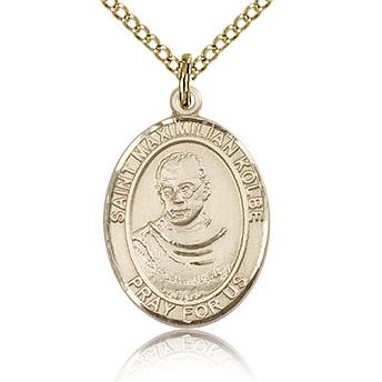 Gold Filled 3/4in St Maximilian Kolbe Medal & 18in Chain