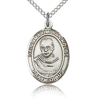 Sterling Silver 3/4in St Maximilian Kolbe Medal & 18in Chain