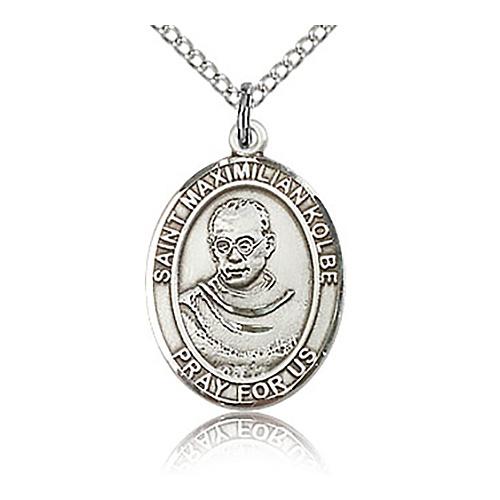 Sterling Silver 3/4in St Maximilian Kolbe Medal & 18in Chain