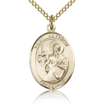 Gold Filled 3/4in St Matthew Medal & 18in Chain