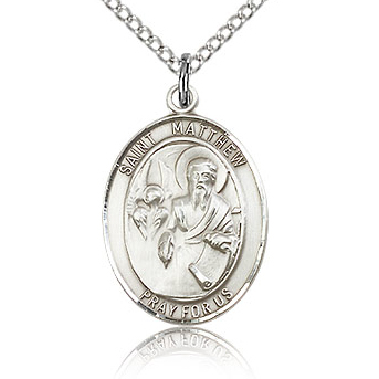 Sterling Silver 3/4in St Matthew Medal & 18in Chain