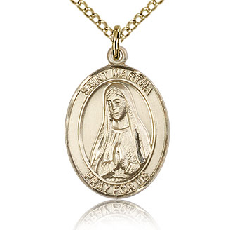 Gold Filled 3/4in St Martha Medal & 18in Chain