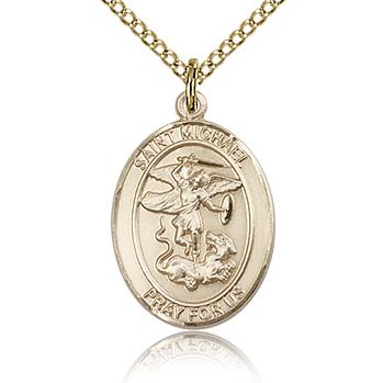 Gold Filled 3/4in St Michael Medal & 18in Chain