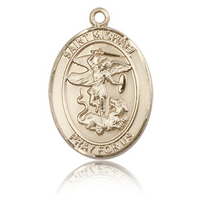 14kt Yellow Gold 3/4in Polished Oval St Michael Medal