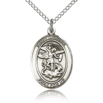 Sterling Silver 3/4in St Michael Medal & 18in Chain