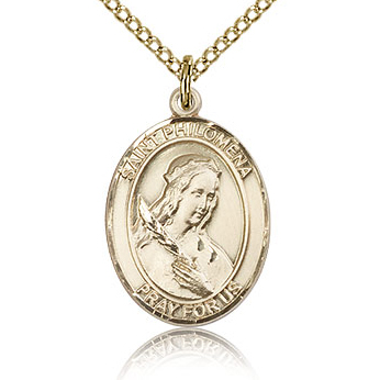 Gold Filled 3/4in St Philomena Medal & 18in Chain
