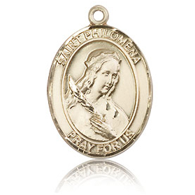 14kt Yellow Gold 3/4in St Philomena Medal