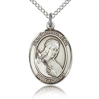 Sterling Silver 3/4in St Philomena Medal & 18in Chain