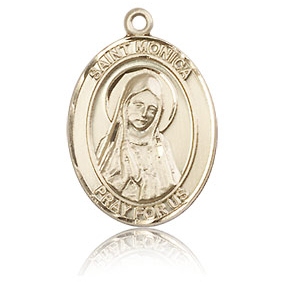 14kt Yellow Gold 3/4in St Monica Medal