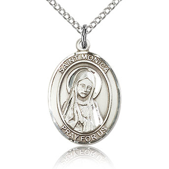 Sterling Silver 3/4in St Monica Medal & 18in Chain