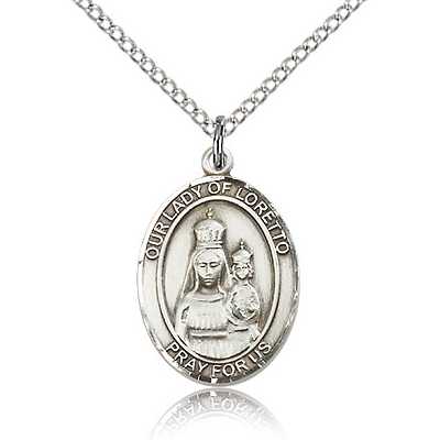 Sterling Silver 3/4in Lady of Loretto Medal & 18in Chain